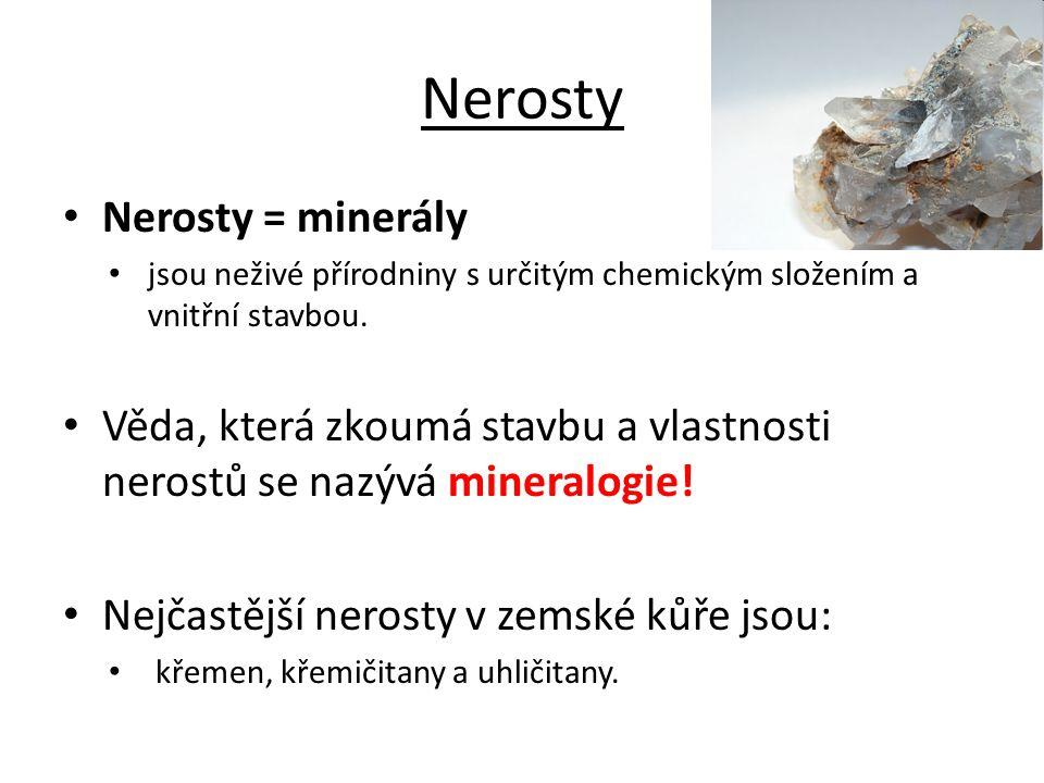 Nerosty Nerosty = minerály
