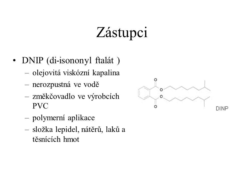 Zástupci DNIP (di-isononyl ftalát ) olejovitá viskózní kapalina