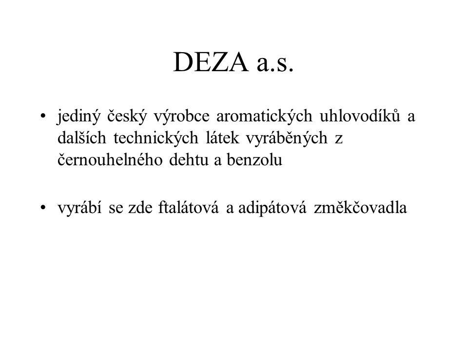 DEZA a.s. jediný český výrobce aromatických uhlovodíků a dalších technických látek vyráběných z černouhelného dehtu a benzolu.
