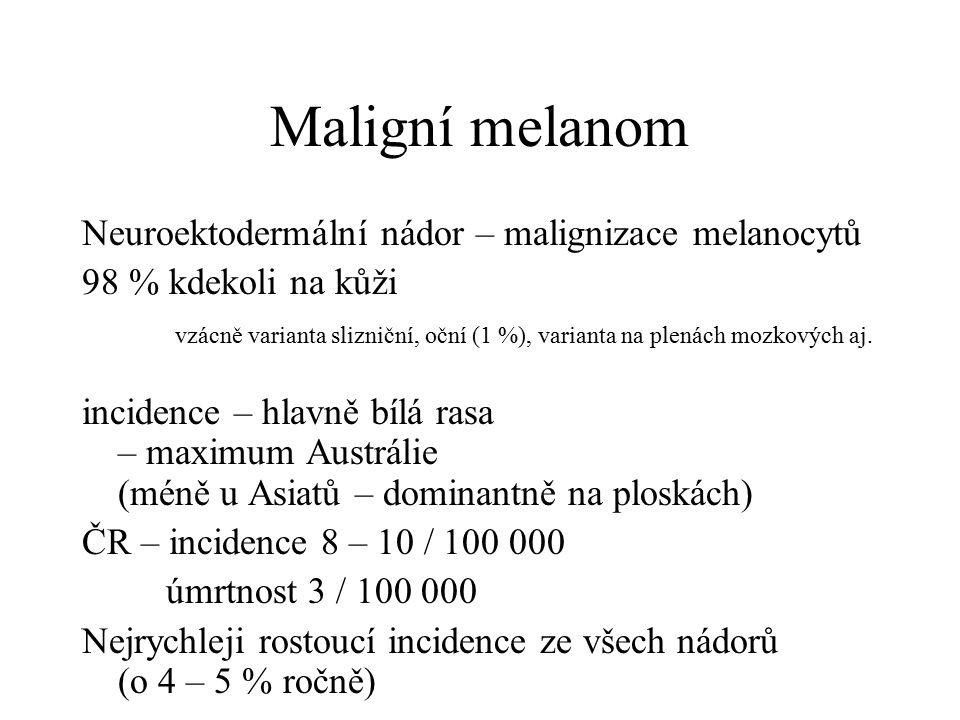 Maligní melanom Neuroektodermální nádor – malignizace melanocytů