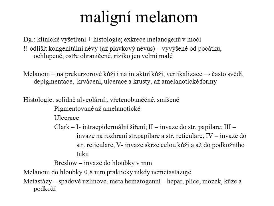 maligní melanom Dg.: klinické vyšetření + histologie; exkrece melanogenů v moči.