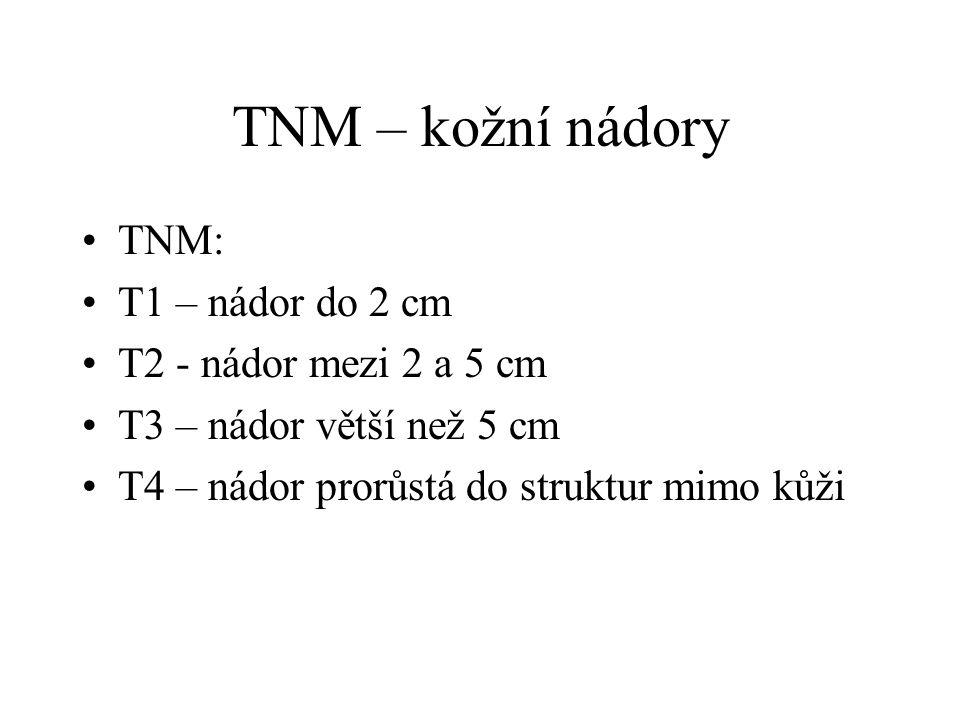 TNM – kožní nádory TNM: T1 – nádor do 2 cm T2 - nádor mezi 2 a 5 cm