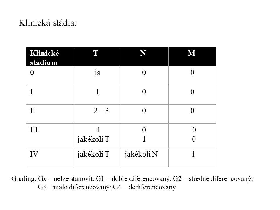Klinická stádia: Klinické stádium T N M I II III jakékoli T IV