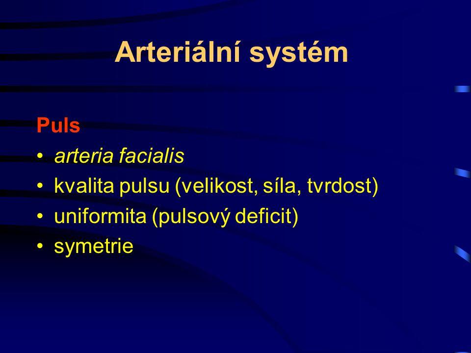 Arteriální systém Puls arteria facialis