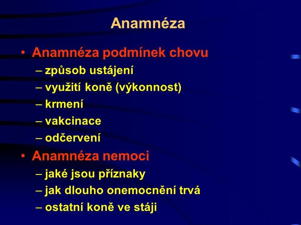 Anamnéza Anamnéza podmínek chovu Anamnéza nemoci způsob ustájení