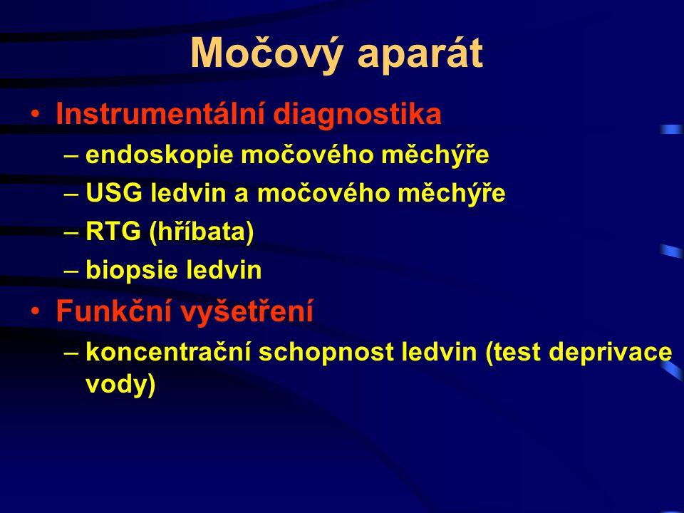 Močový aparát Instrumentální diagnostika Funkční vyšetření