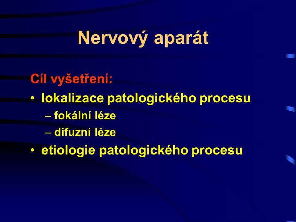 Nervový aparát Cíl vyšetření: lokalizace patologického procesu