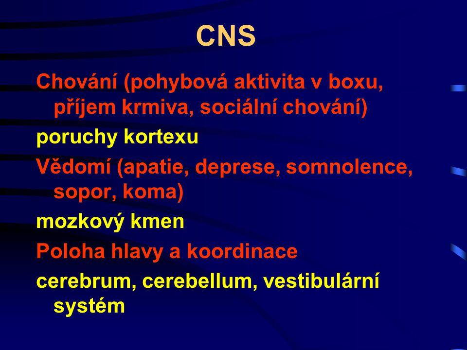CNS Chování (pohybová aktivita v boxu, příjem krmiva, sociální chování) poruchy kortexu. Vědomí (apatie, deprese, somnolence, sopor, koma)