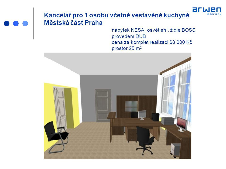 Kancelář pro 1 osobu včetně vestavěné kuchyně Městská část Praha
