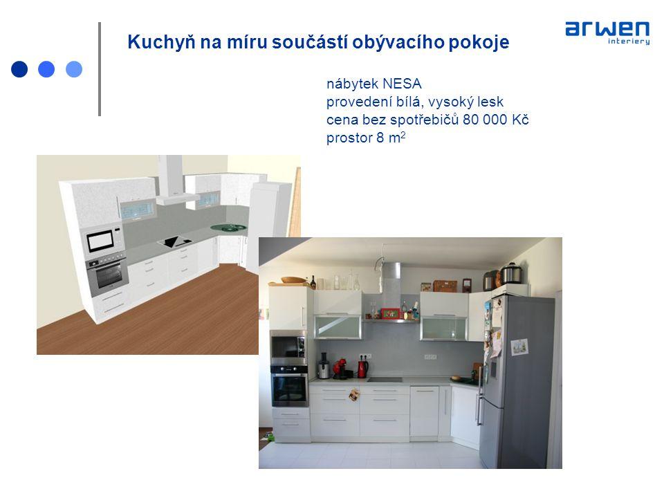 Kuchyň na míru součástí obývacího pokoje. nábytek NESA