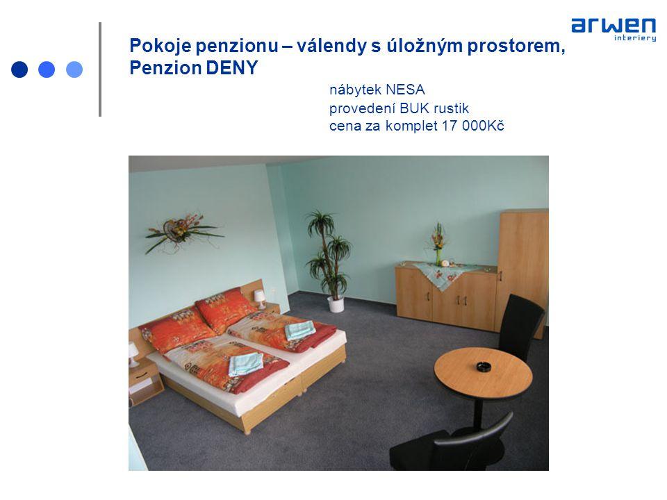 Pokoje penzionu – válendy s úložným prostorem, Penzion DENY