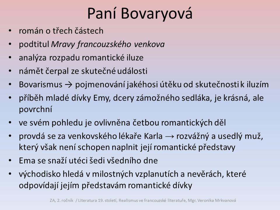 Paní Bovaryová román o třech částech