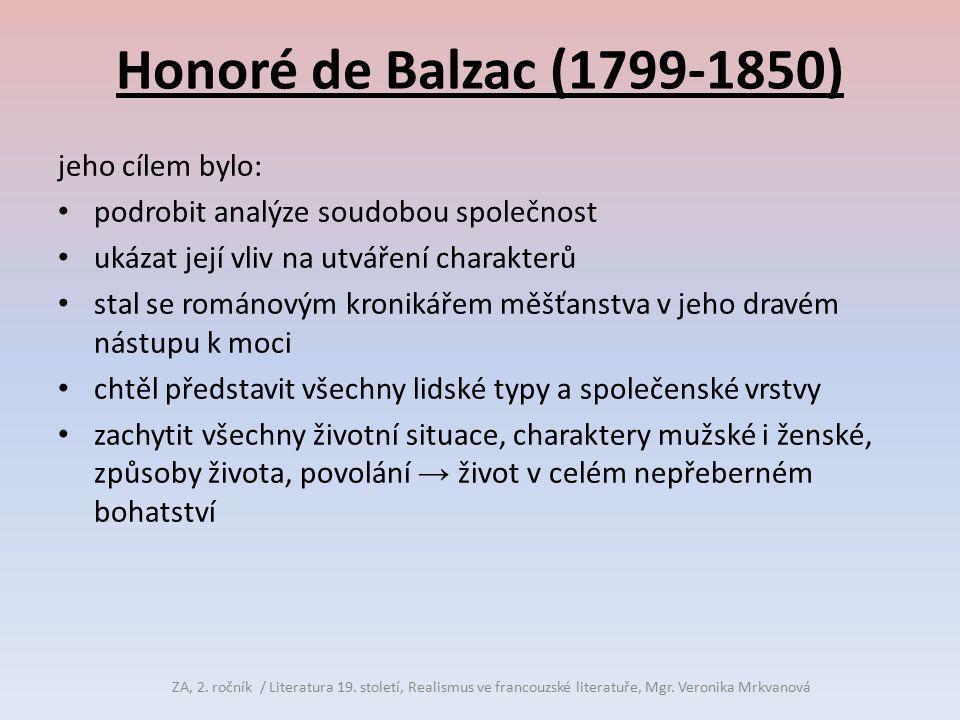 Honoré de Balzac (1799-1850) jeho cílem bylo: