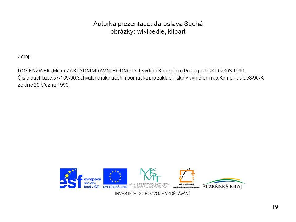Autorka prezentace: Jaroslava Suchá obrázky: wikipedie, klipart