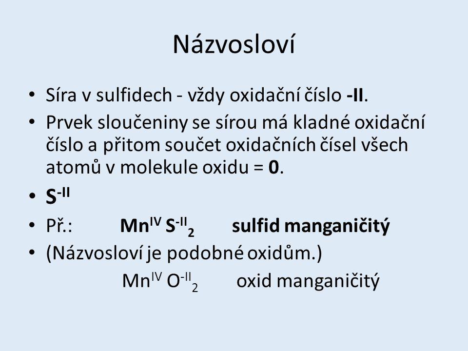 Názvosloví S-II Síra v sulfidech - vždy oxidační číslo -II.