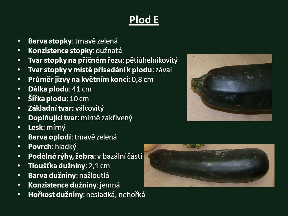 Plod E Barva stopky: tmavě zelená Konzistence stopky: dužnatá