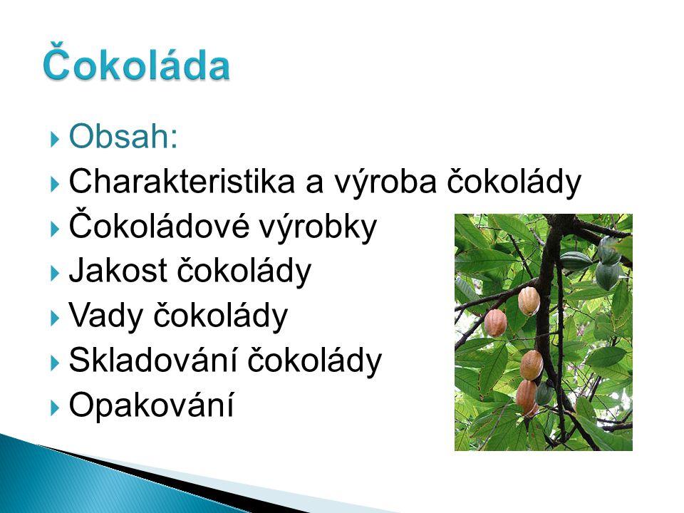 Čokoláda Obsah: Charakteristika a výroba čokolády Čokoládové výrobky