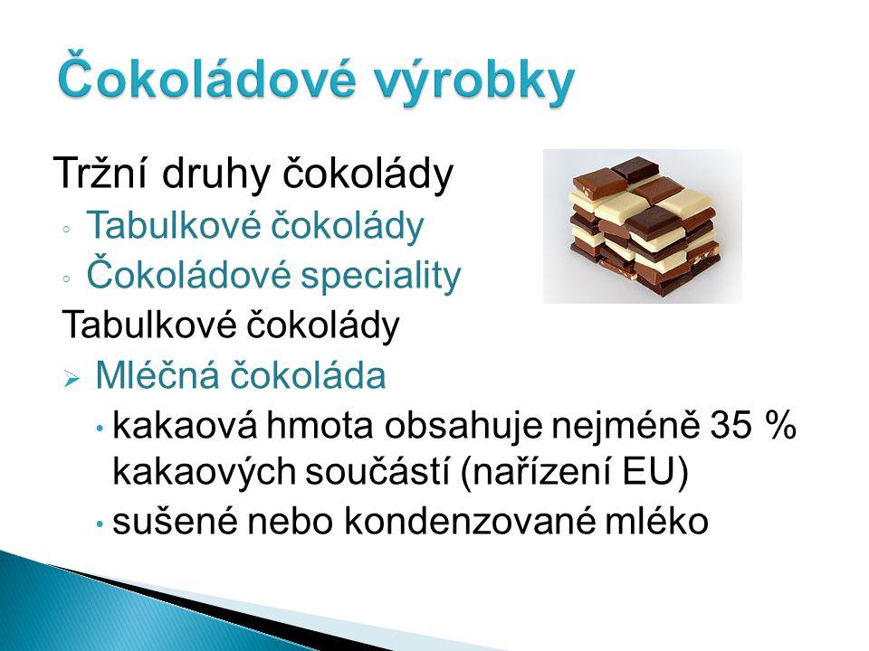 Čokoládové výrobky Tržní druhy čokolády Tabulkové čokolády