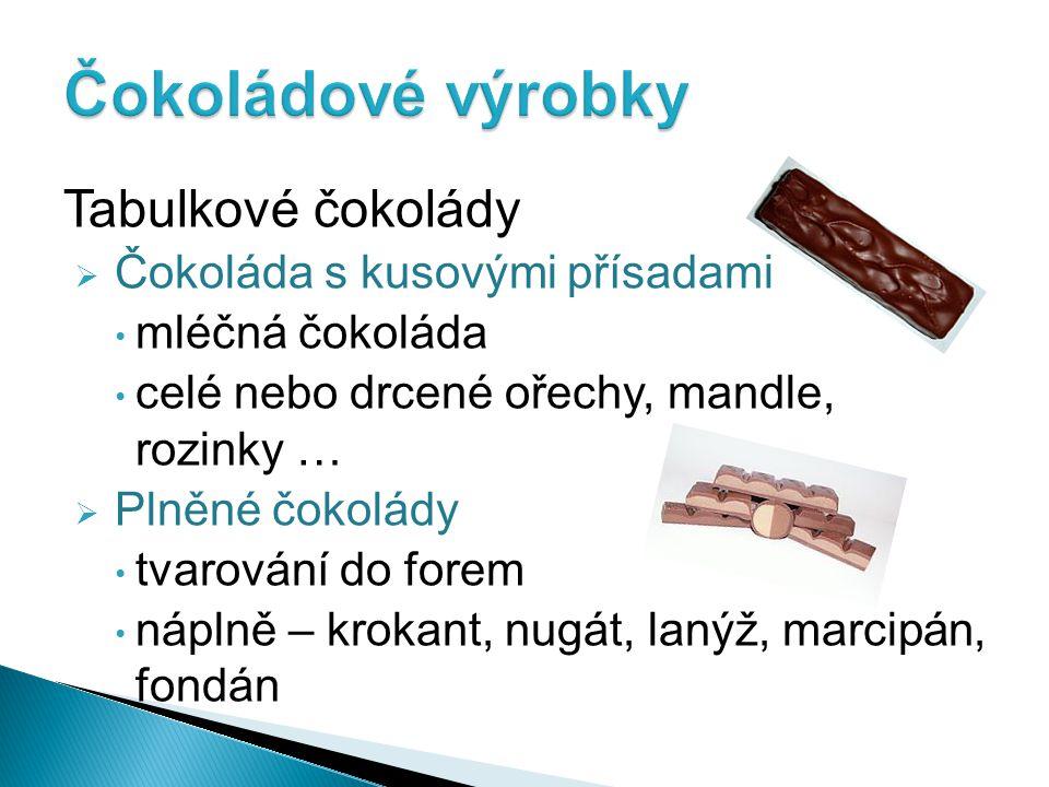 Čokoládové výrobky Tabulkové čokolády Čokoláda s kusovými přísadami