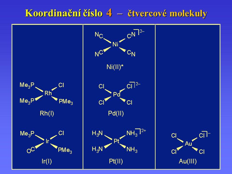 Koordinační číslo 4 – čtvercové molekuly