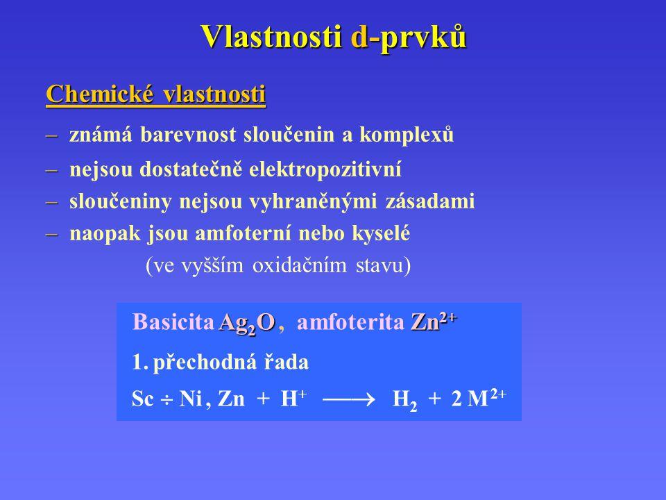 Vlastnosti d-prvků Chemické vlastnosti Basicita Ag2O , amfoterita Zn2+