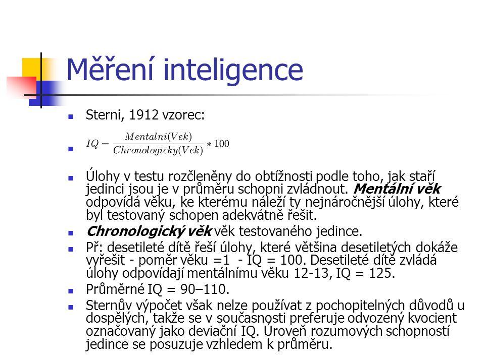 Měření inteligence Sterni, 1912 vzorec: