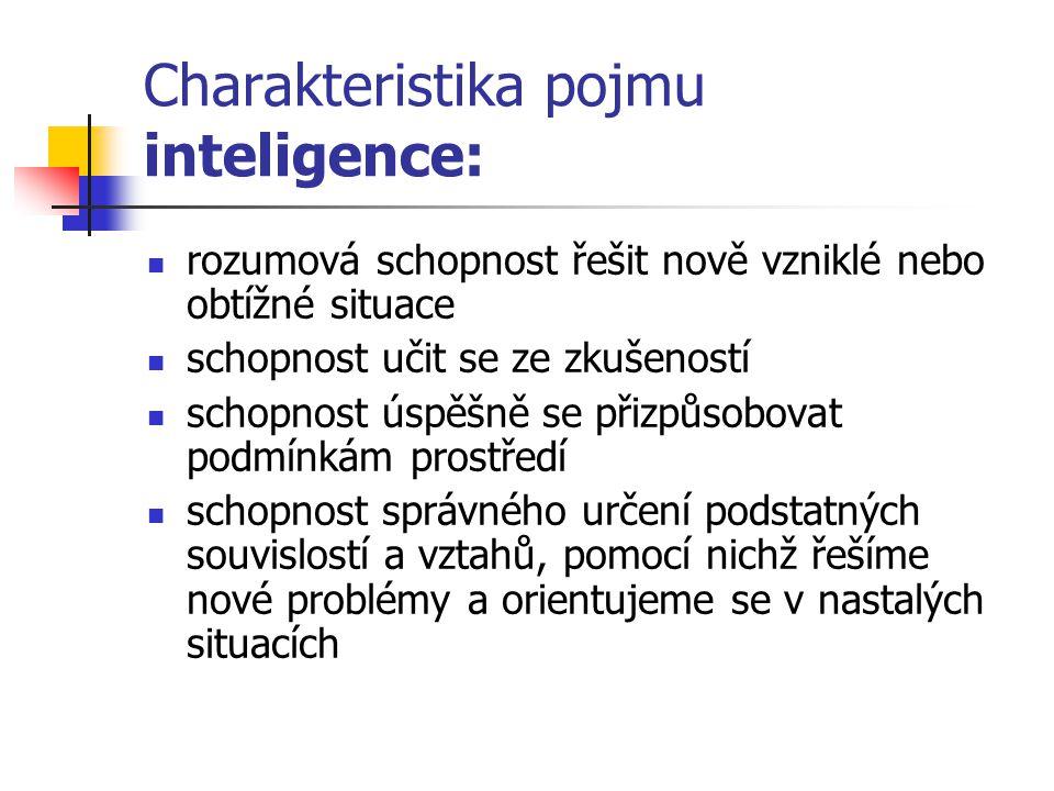Charakteristika pojmu inteligence: