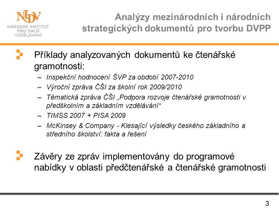 Příklady analyzovaných dokumentů ke čtenářské gramotnosti: