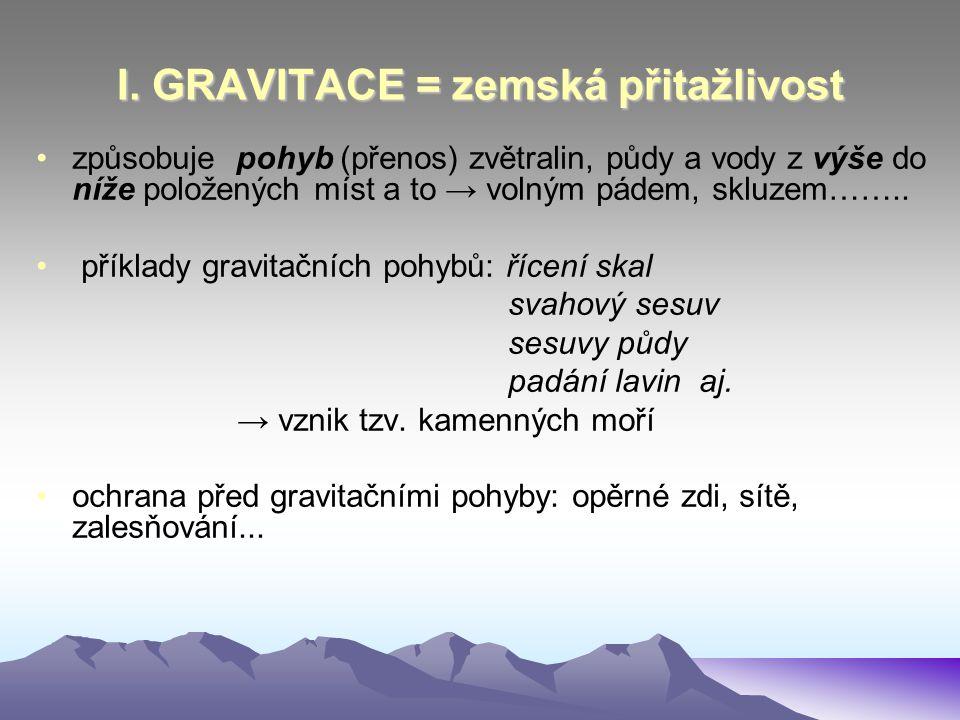 I. GRAVITACE = zemská přitažlivost