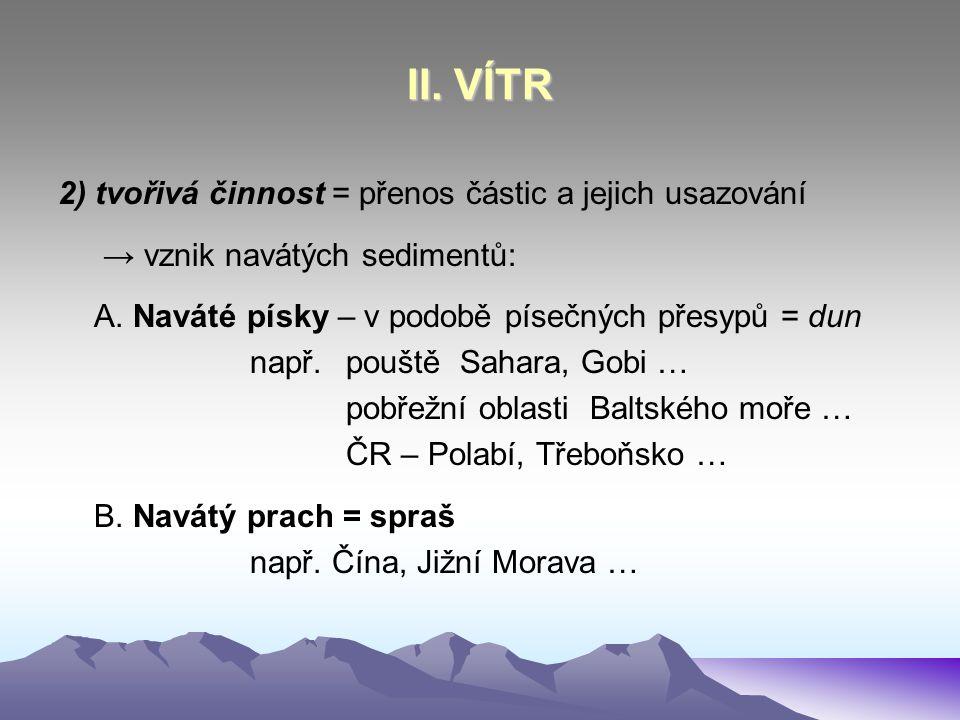 II. VÍTR 2) tvořivá činnost = přenos částic a jejich usazování