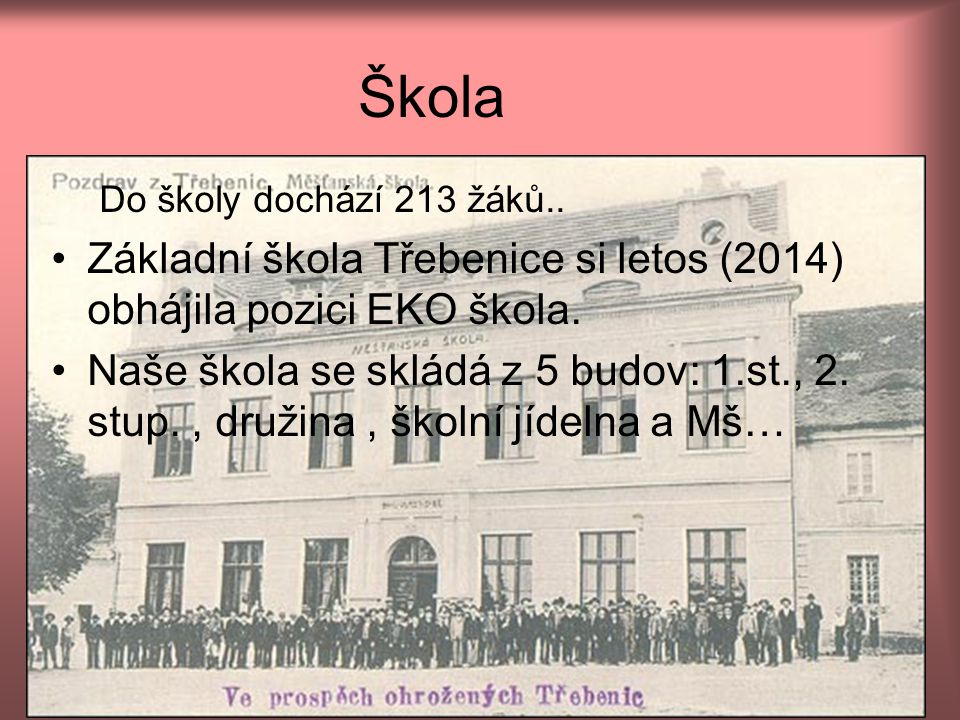 Škola Do školy dochází 213 žáků.. Základní škola Třebenice si letos (2014) obhájila pozici EKO škola.