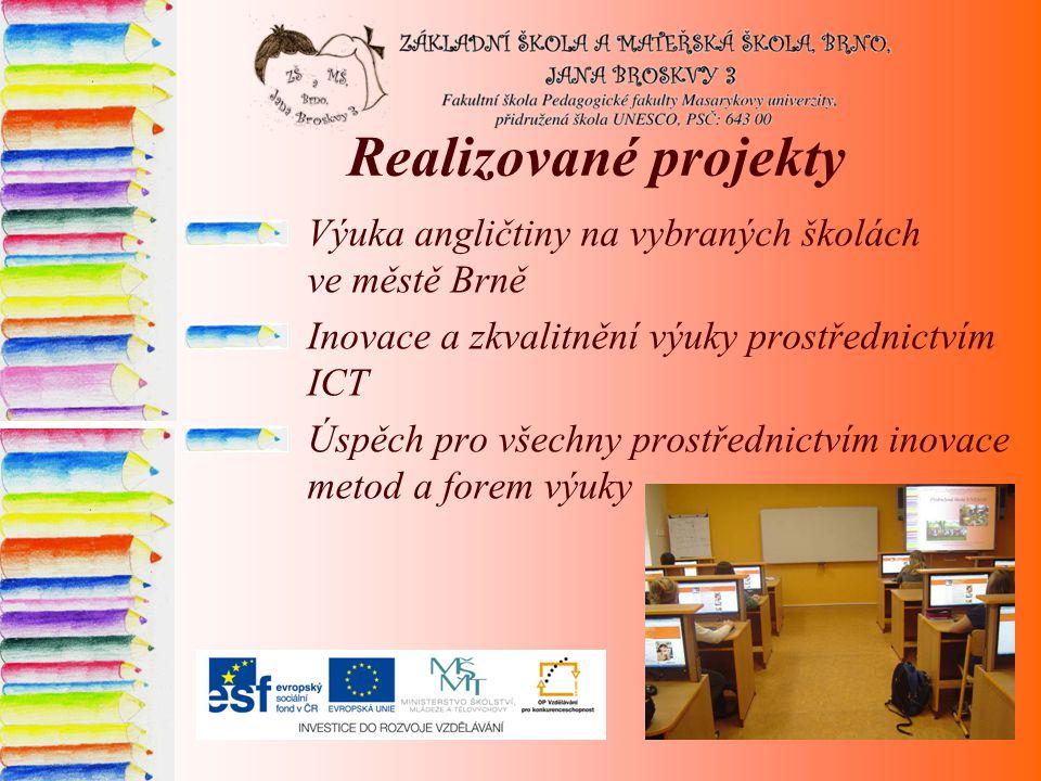 Realizované projekty Výuka angličtiny na vybraných školách ve městě Brně. Inovace a zkvalitnění výuky prostřednictvím ICT.