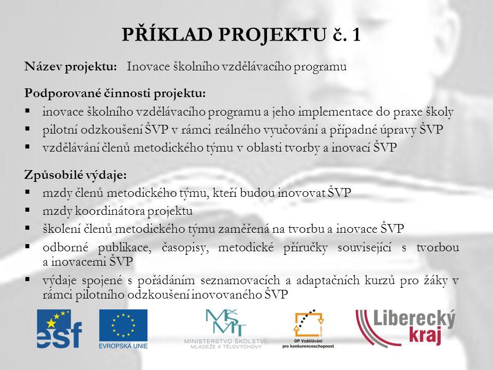 PŘÍKLAD PROJEKTU č. 1 Název projektu: Inovace školního vzdělávacího programu. Podporované činnosti projektu: