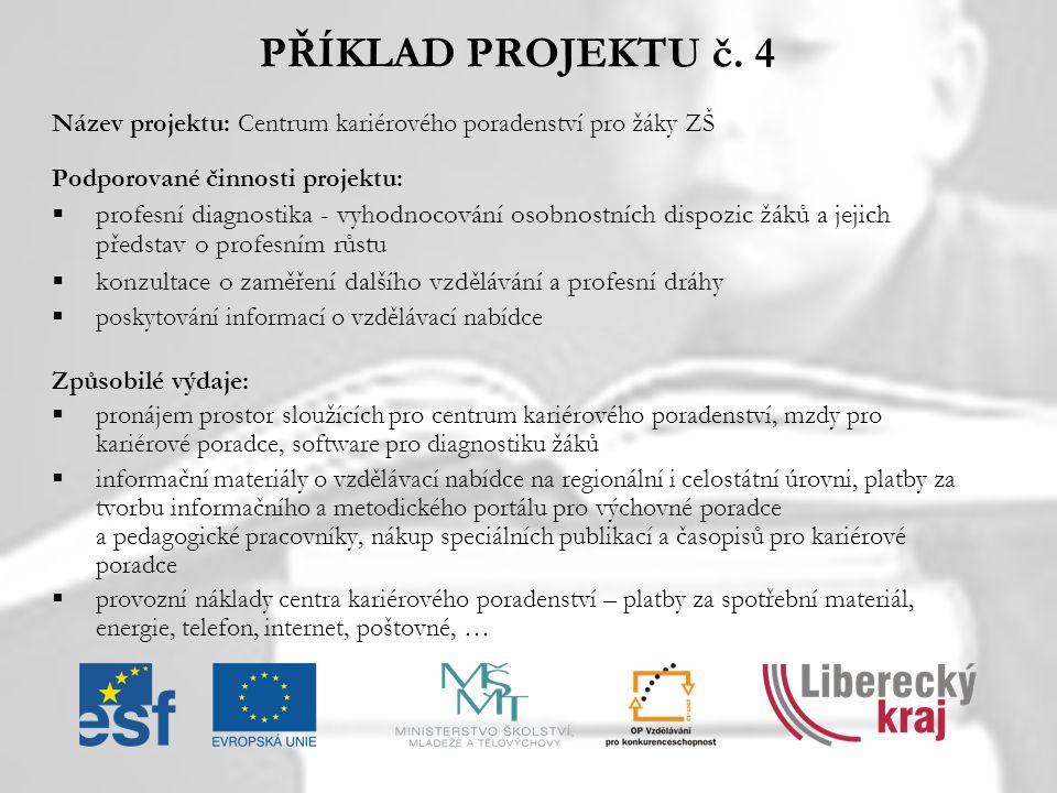 PŘÍKLAD PROJEKTU č. 4 Název projektu: Centrum kariérového poradenství pro žáky ZŠ. Podporované činnosti projektu: