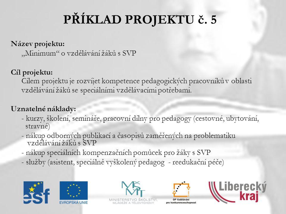 PŘÍKLAD PROJEKTU č. 5 Název projektu: