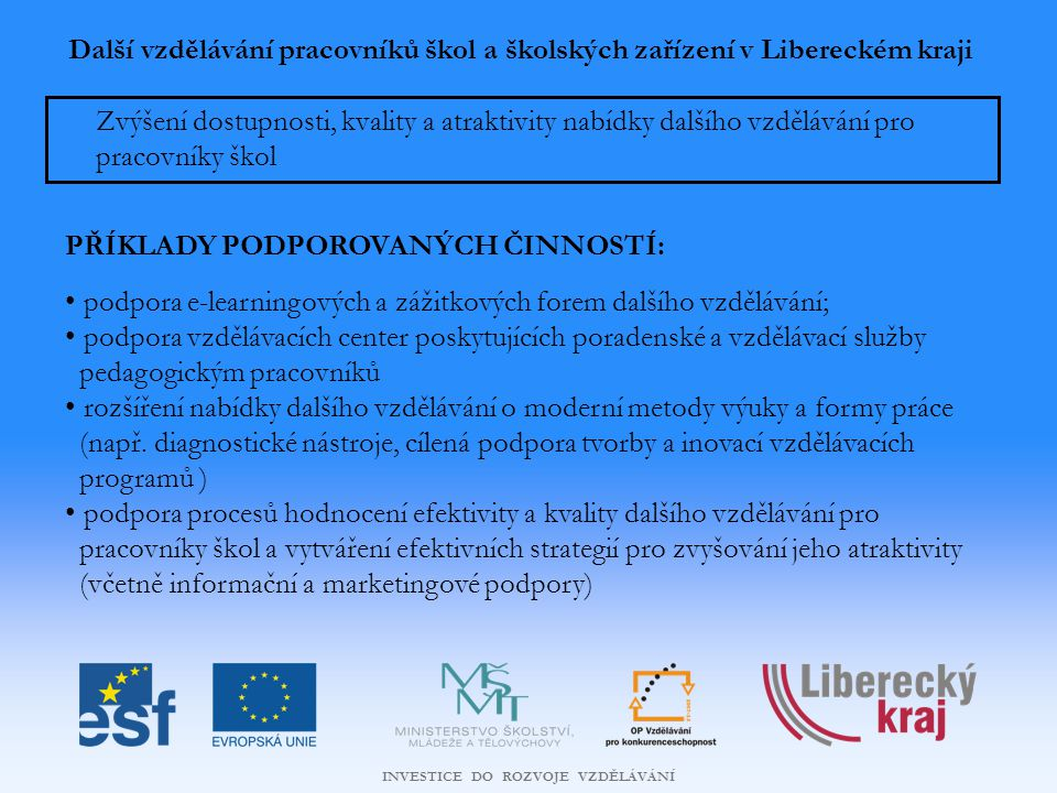 Další vzdělávání pracovníků škol a školských zařízení v Libereckém kraji