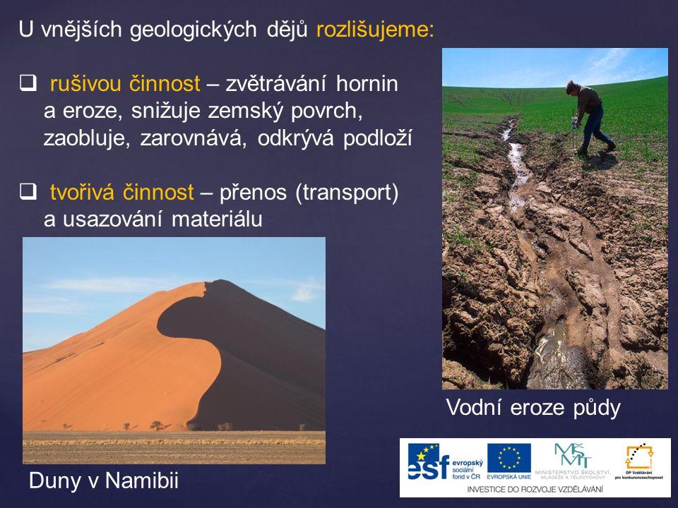 U vnějších geologických dějů rozlišujeme: