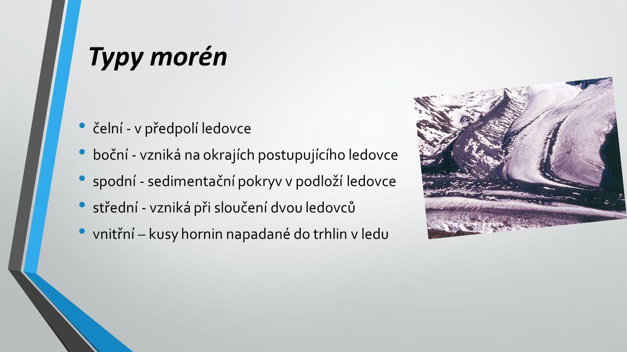 Typy morén čelní - v předpolí ledovce