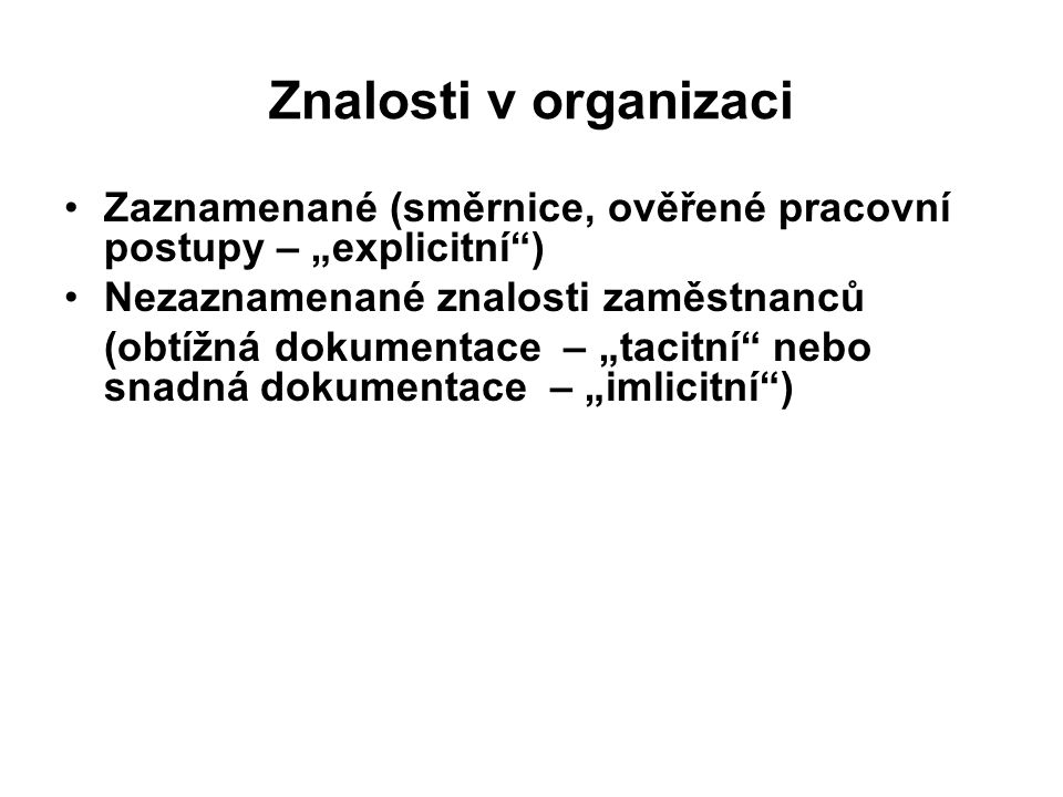 """Znalosti v organizaci Zaznamenané (směrnice, ověřené pracovní postupy – """"explicitní ) Nezaznamenané znalosti zaměstnanců."""