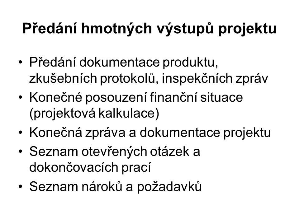 Předání hmotných výstupů projektu