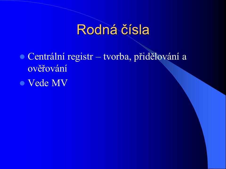 Rodná čísla Centrální registr – tvorba, přidělování a ověřování
