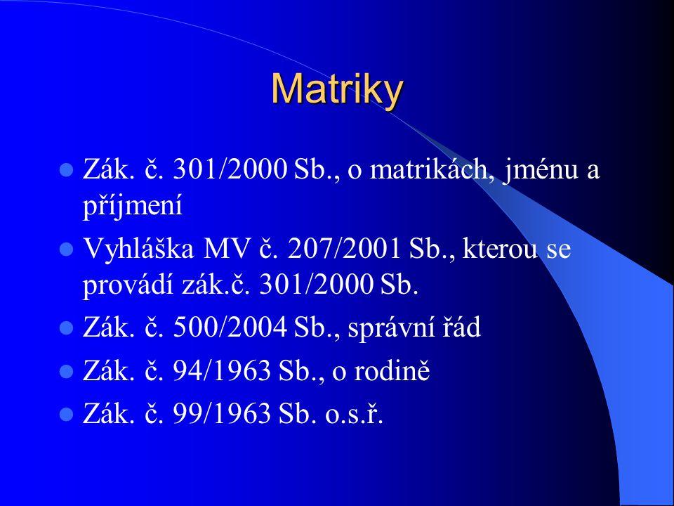 Matriky Zák. č. 301/2000 Sb., o matrikách, jménu a příjmení