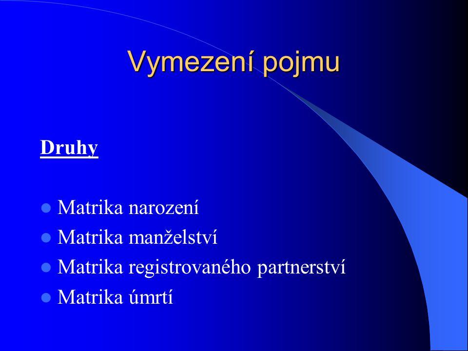 Vymezení pojmu Druhy Matrika narození Matrika manželství