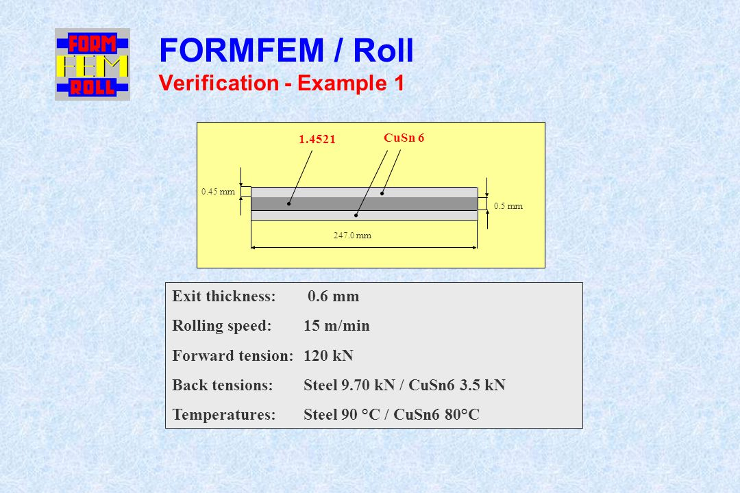 FORMFEM / Roll Verification - Example 1