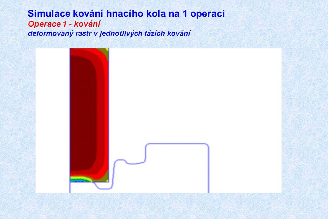 Simulace kování hnacího kola na 1 operaci Operace 1 - kování deformovaný rastr v jednotlivých fázích kování