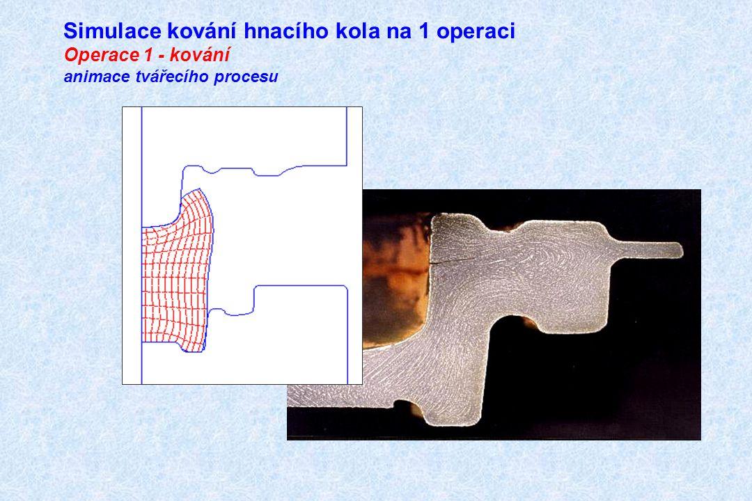 Simulace kování hnacího kola na 1 operaci Operace 1 - kování animace tvářecího procesu