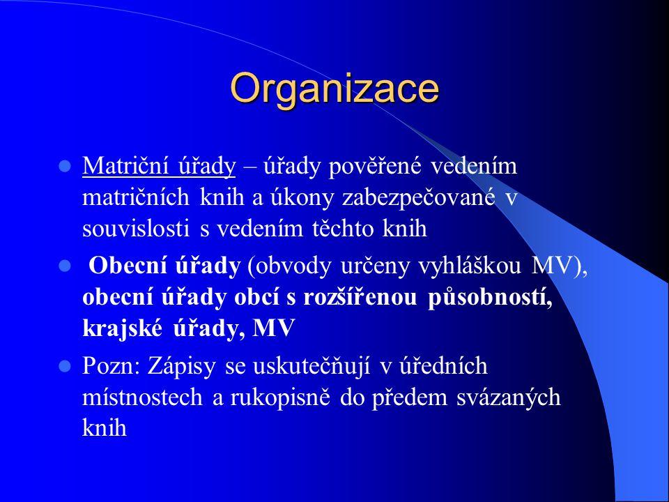 Organizace Matriční úřady – úřady pověřené vedením matričních knih a úkony zabezpečované v souvislosti s vedením těchto knih.