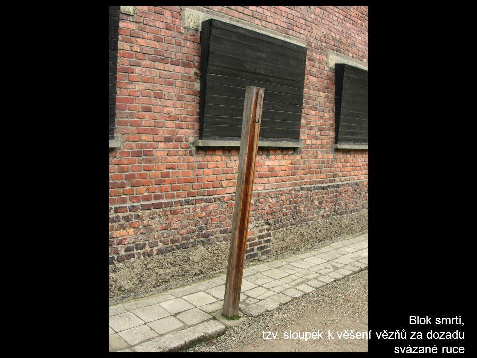 Blok smrti, tzv. sloupek k věšení vězňů za dozadu svázané ruce