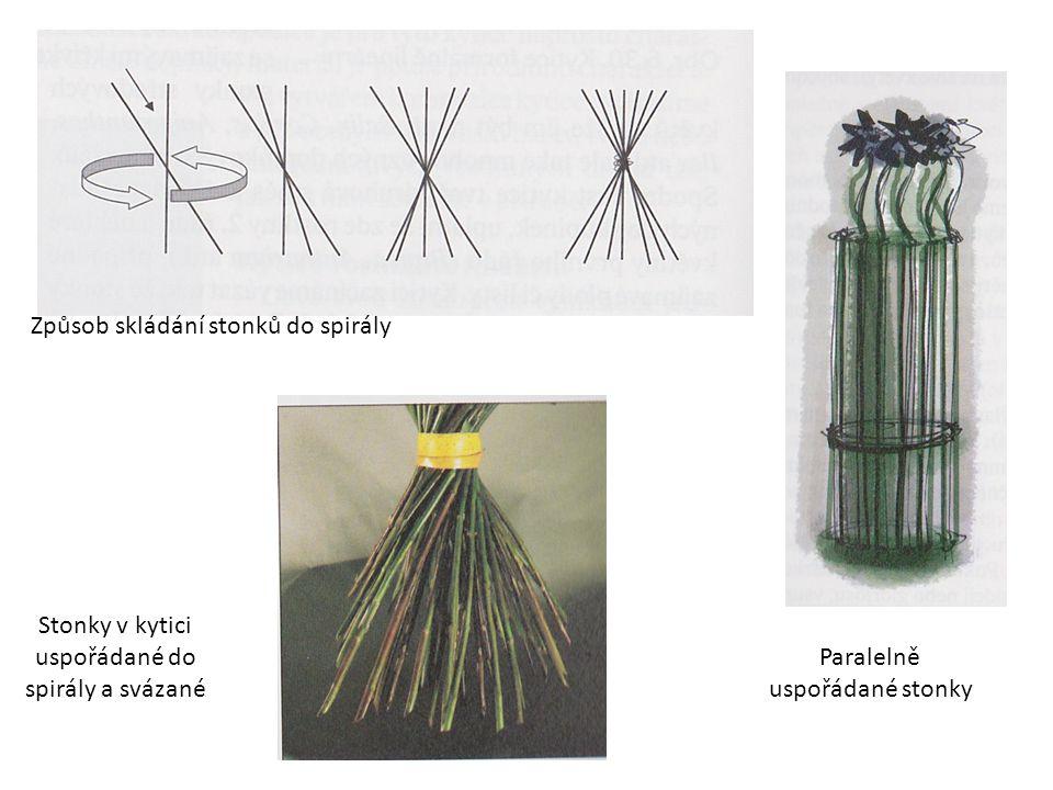 Způsob skládání stonků do spirály