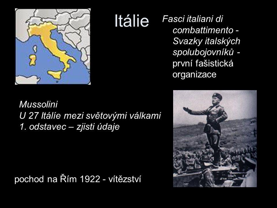 Itálie Fasci italiani di combattimento - Svazky italských spolubojovníků - první fašistická organizace.